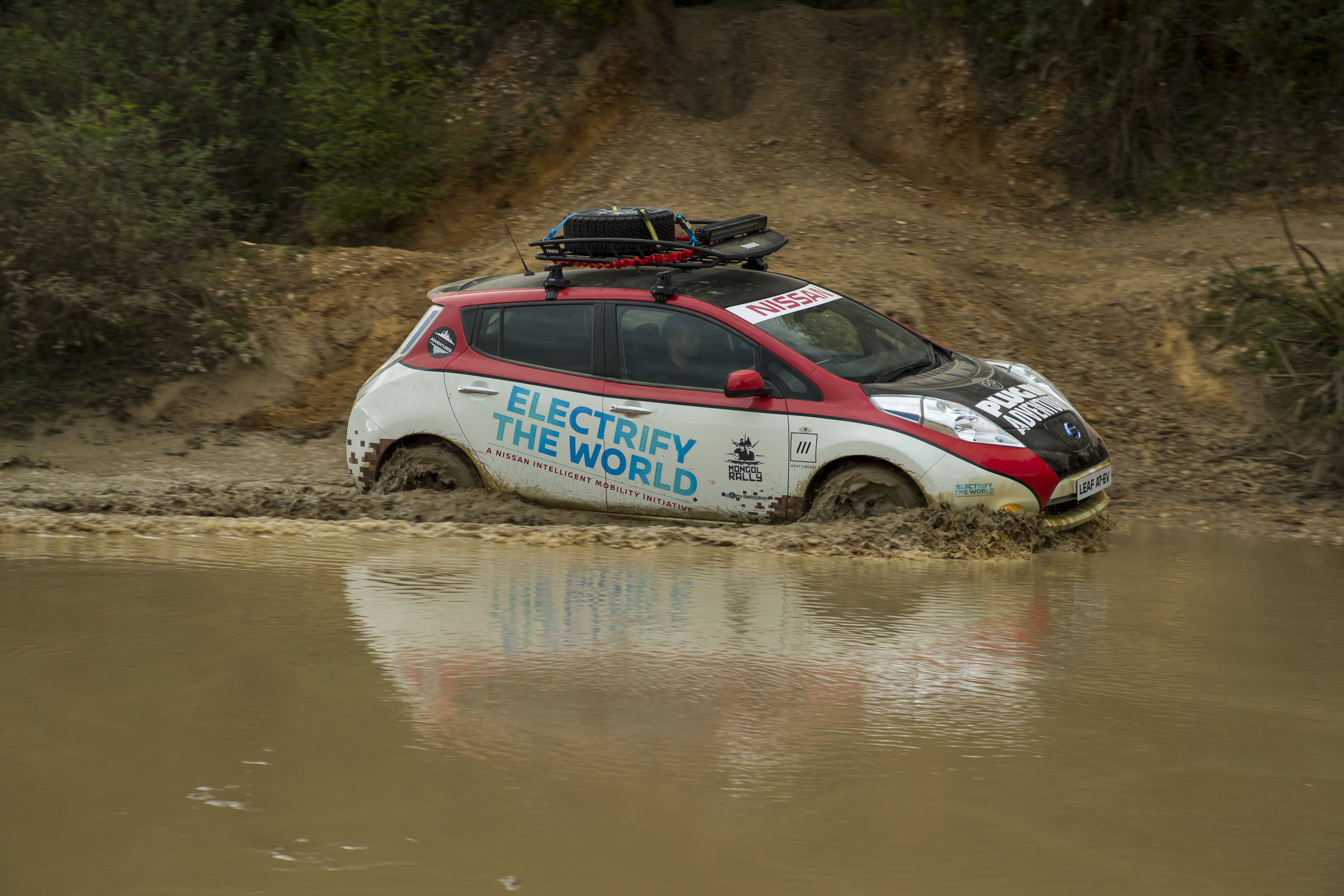 Nissan Leaf Mongol Rally wading