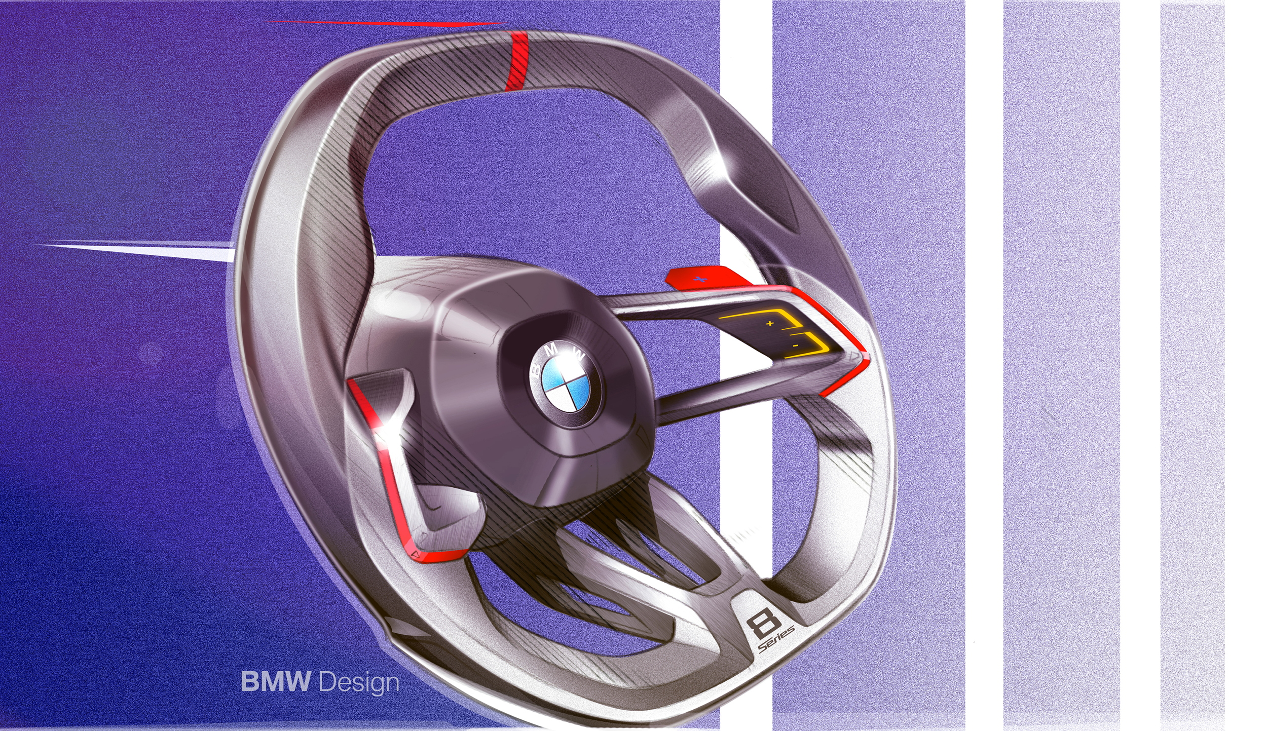 BMW Concept 8 Series steering wheel design sketch