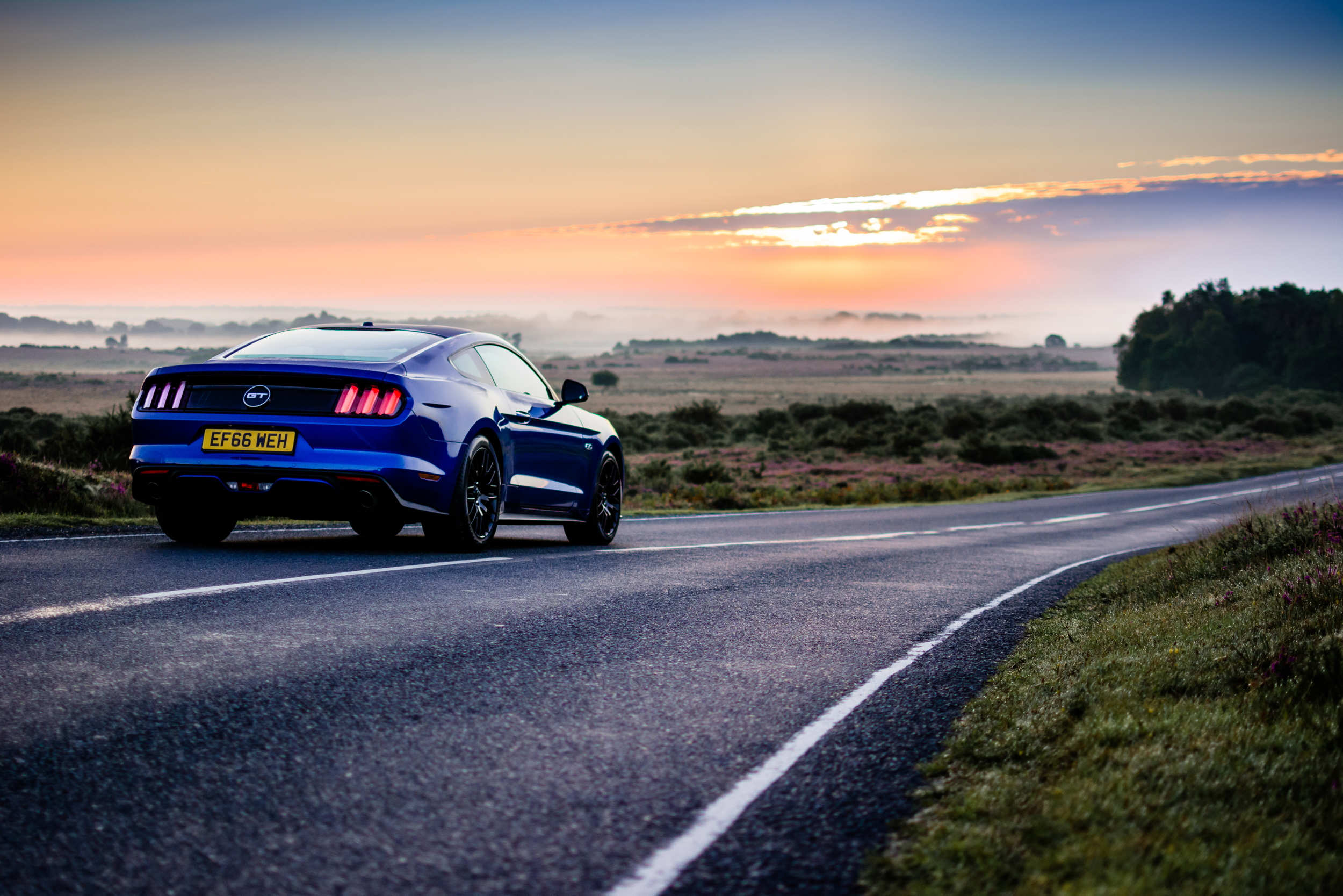 Ford Mustang GT sunrise road