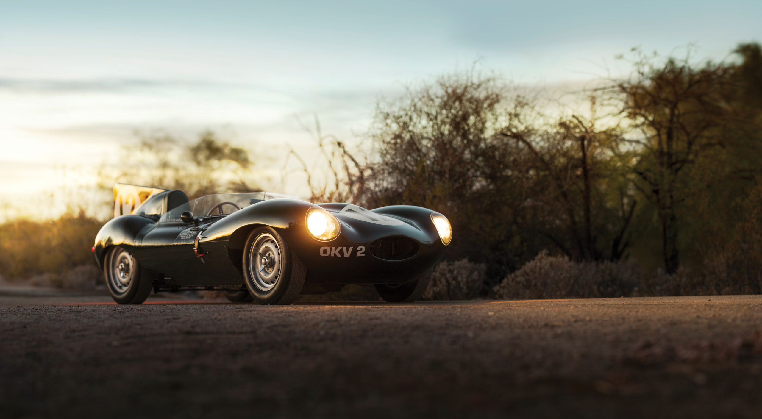 ex-Stirling Moss Jaguar D-Type sunset